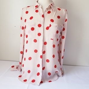 Blush and bright red Polka dot blouse